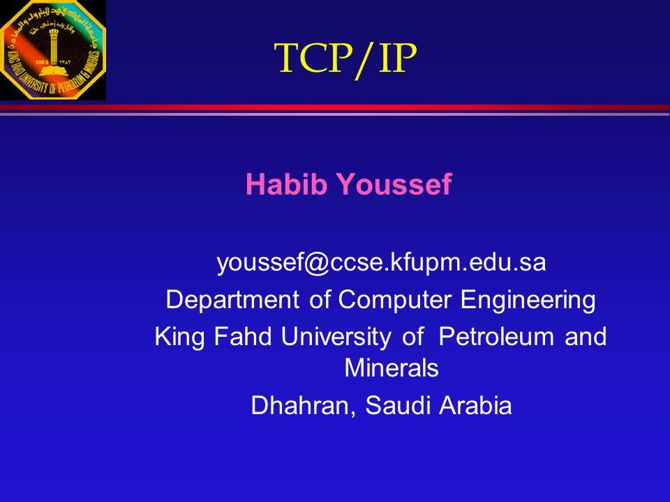 TCP/IP Habib Youssef youssef@ccse.kfupm.edu.sa Department of Computer Engineering King Fahd University of Petroleum and Minerals Dhahran, Saudi Arabia