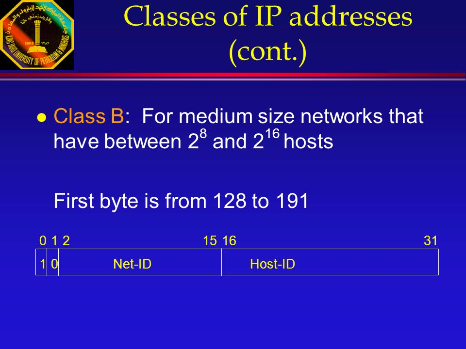 Classes of IP addresses (cont.) l Class B: For medium size networks that have between 2 8 and 2 16 hosts First byte is from 128 to 191 012151631 1Net-IDHost-ID0