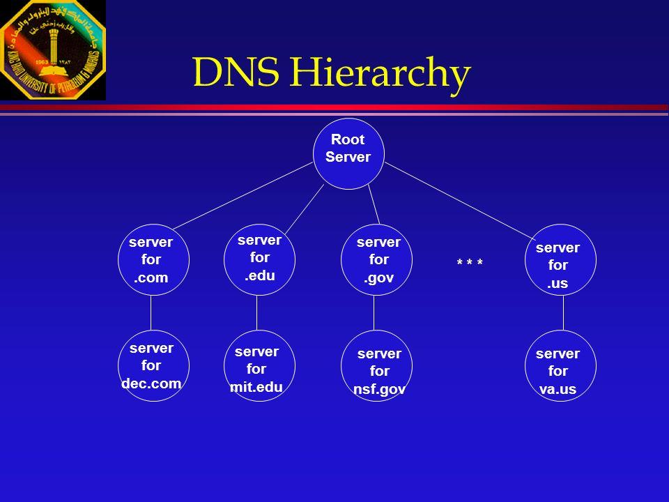 server for.com server for.edu server for.us * * * server for.gov Root Server server for nsf.gov server for va.us server for mit.edu server for dec.com DNS Hierarchy
