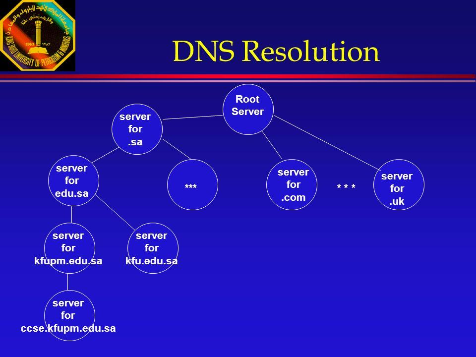 server for.sa server for.uk * * * server for.com Root Server DNS Resolution server for edu.sa *** server for ccse.kfupm.edu.sa server for kfupm.edu.sa server for kfu.edu.sa