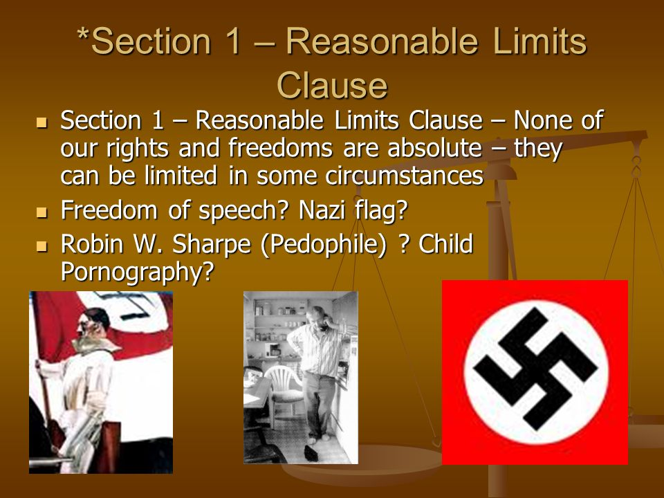 *Section 1 – Reasonable Limits Clause Section 1 – Reasonable Limits Clause – None of our rights and freedoms are absolute – they can be limited in some circumstances Section 1 – Reasonable Limits Clause – None of our rights and freedoms are absolute – they can be limited in some circumstances Freedom of speech.