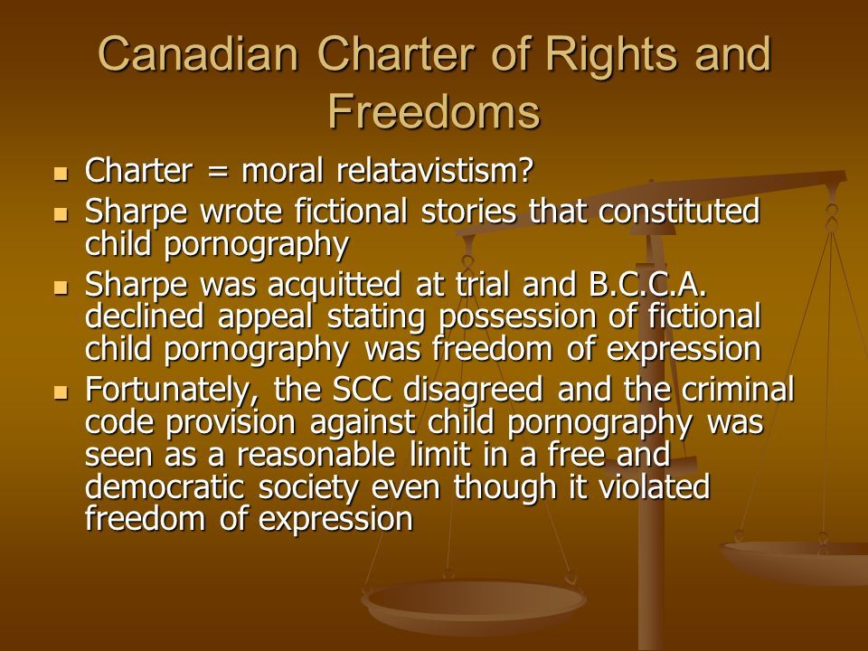 Canadian Charter of Rights and Freedoms Charter = moral relatavistism.