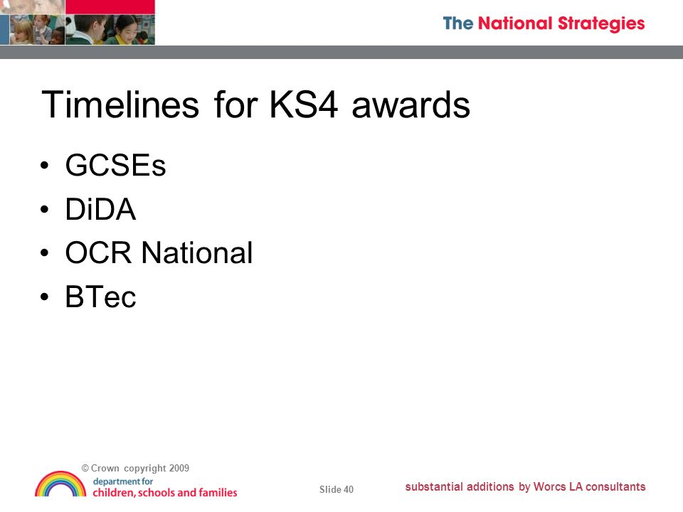 © Crown copyright 2009 Slide 40 substantial additions by Worcs LA consultants Timelines for KS4 awards GCSEs DiDA OCR National BTec