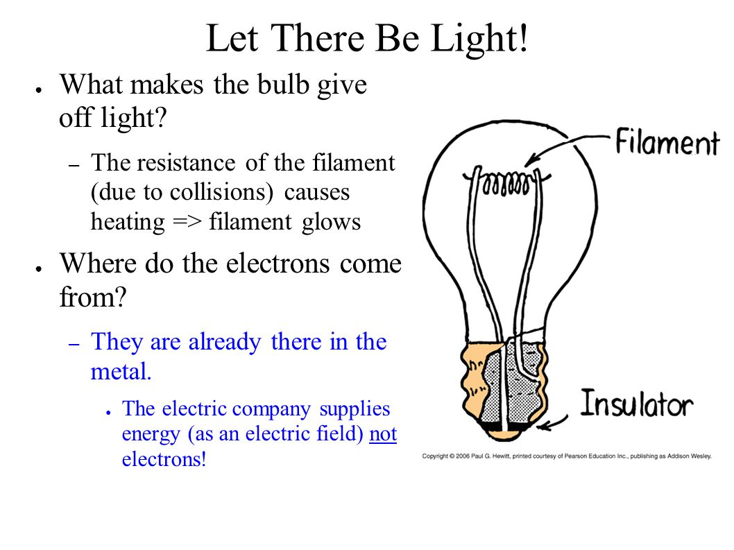 Let There Be Light. ● What makes the bulb give off light.