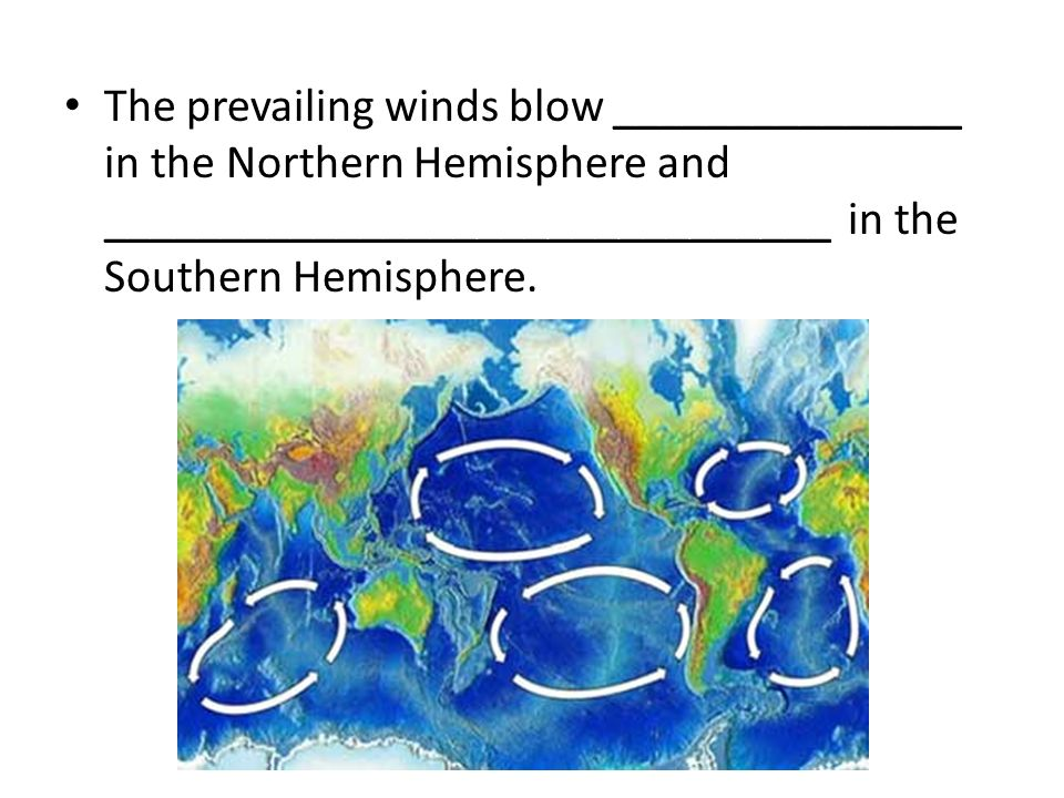 The prevailing winds blow _______________ in the Northern Hemisphere and _______________________________ in the Southern Hemisphere.