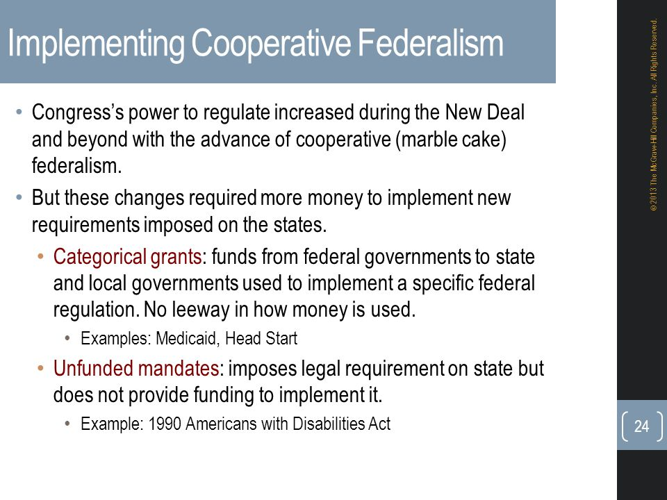 differences between dual and cooperative federalism Cooperative federalism, the reigning conception of american federalism from about 1954 to 1978, was a political response to the policy challenges of market failure, postwar affluence, racism, urban poverty, environmentalism, and individual rights.