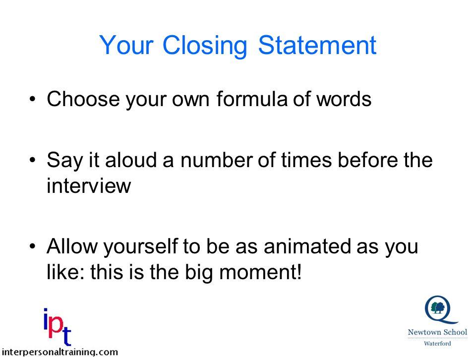 closing interview statement