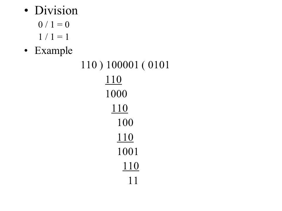 Division 0 / 1 = 0 1 / 1 = 1 Example 110 ) 100001 ( 0101 110 1000 110 100 110 1001 110 11