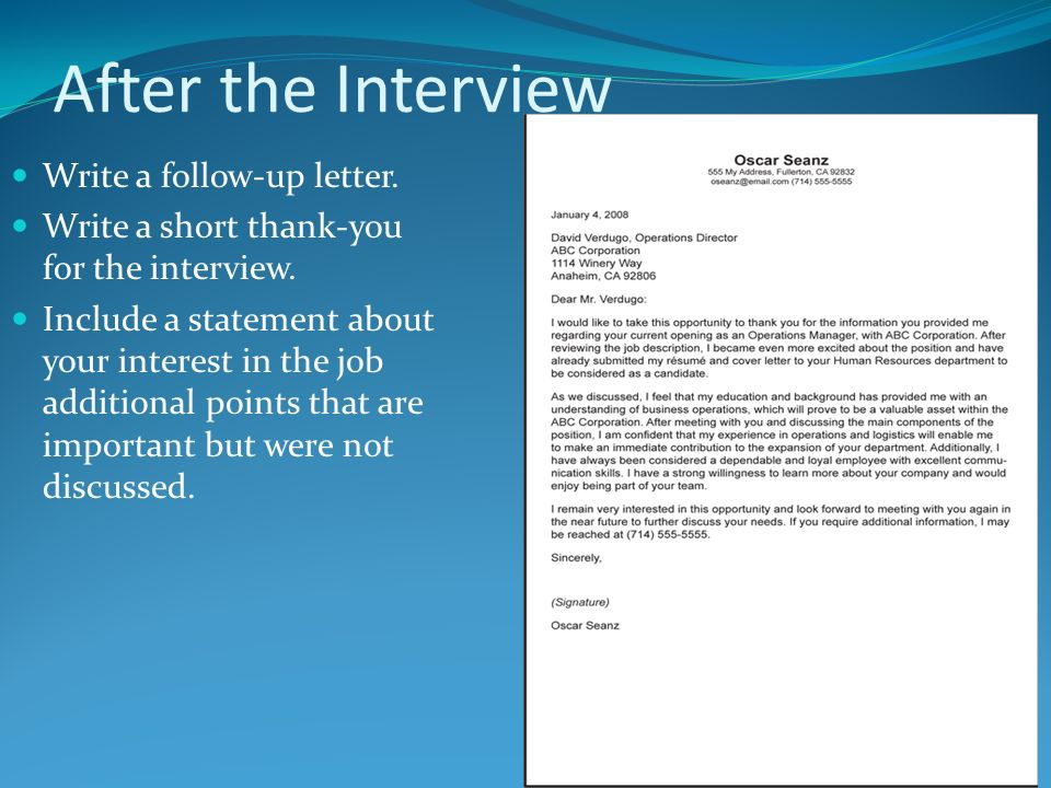 after the interview write a follow up letter write a short thank you - How To Get An Interview For A Job Of Your Interest