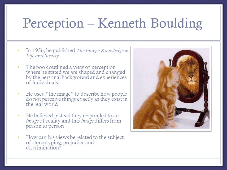 Perception – Kenneth Boulding In 1956, he published The Image: Knowledge in Life and Society The book outlined a view of perception where he stated we are shaped and changed by the personal background and experiences of individuals.