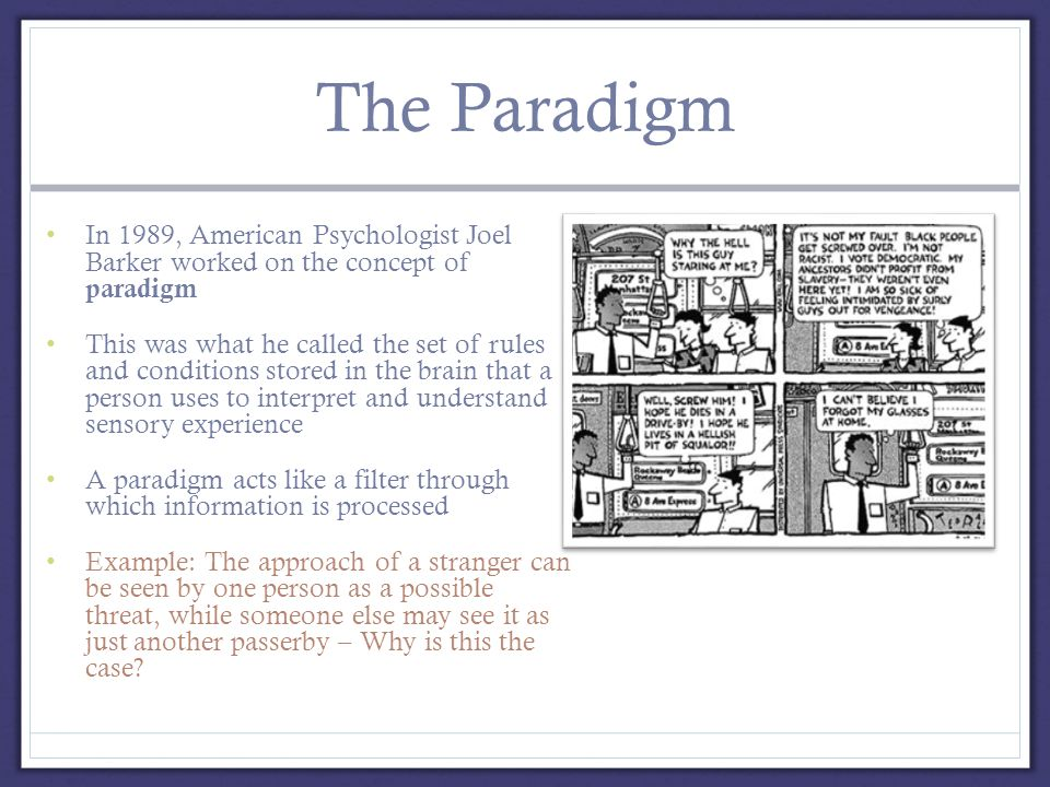 The Paradigm In 1989, American Psychologist Joel Barker worked on the concept of paradigm This was what he called the set of rules and conditions stored in the brain that a person uses to interpret and understand sensory experience A paradigm acts like a filter through which information is processed Example: The approach of a stranger can be seen by one person as a possible threat, while someone else may see it as just another passerby – Why is this the case