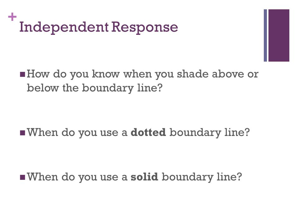 + Independent Response How do you know when you shade above or below the boundary line.