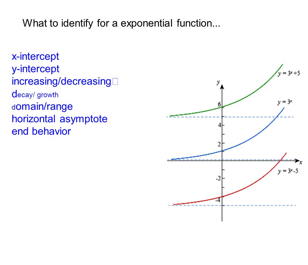 Range Horizontal Asymptote End Behavior What To Identify For A  Exponential Function