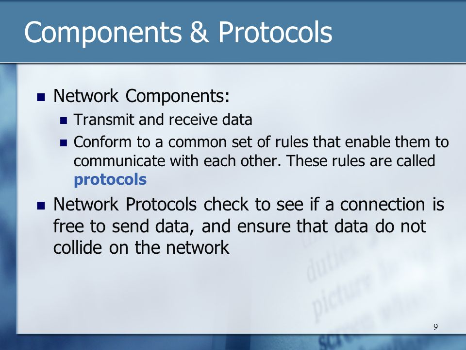 10 TCP/IP These two protocols form the basis of Internet technology Powerful and flexible Used on the Internet to enable data to be sent from one computer to another across multiple networks