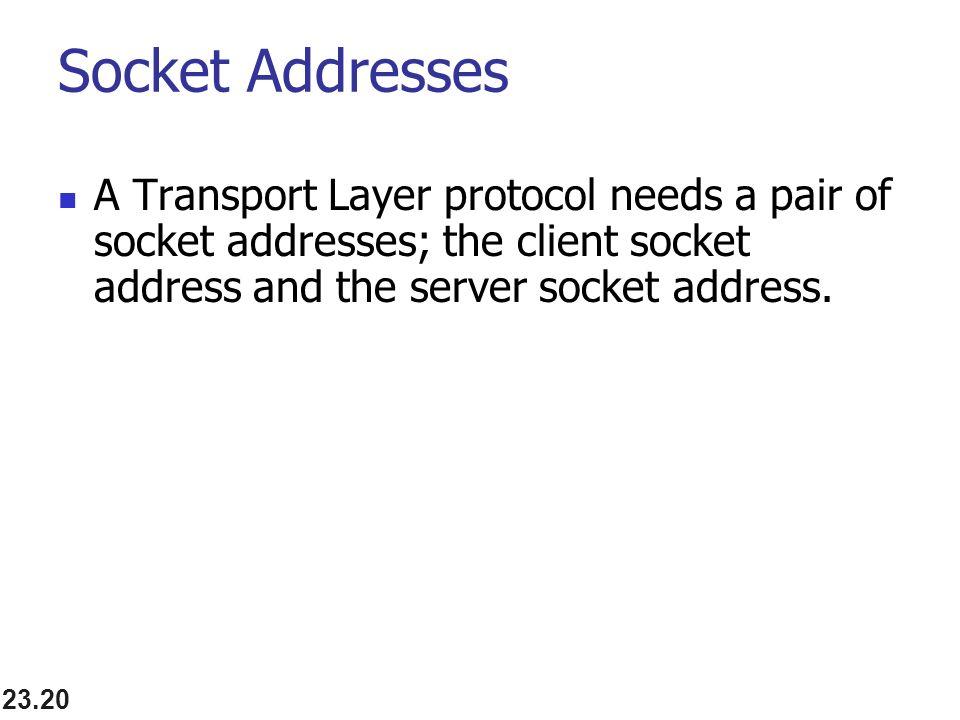23.20 Socket Addresses A Transport Layer protocol needs a pair of socket addresses; the client socket address and the server socket address.