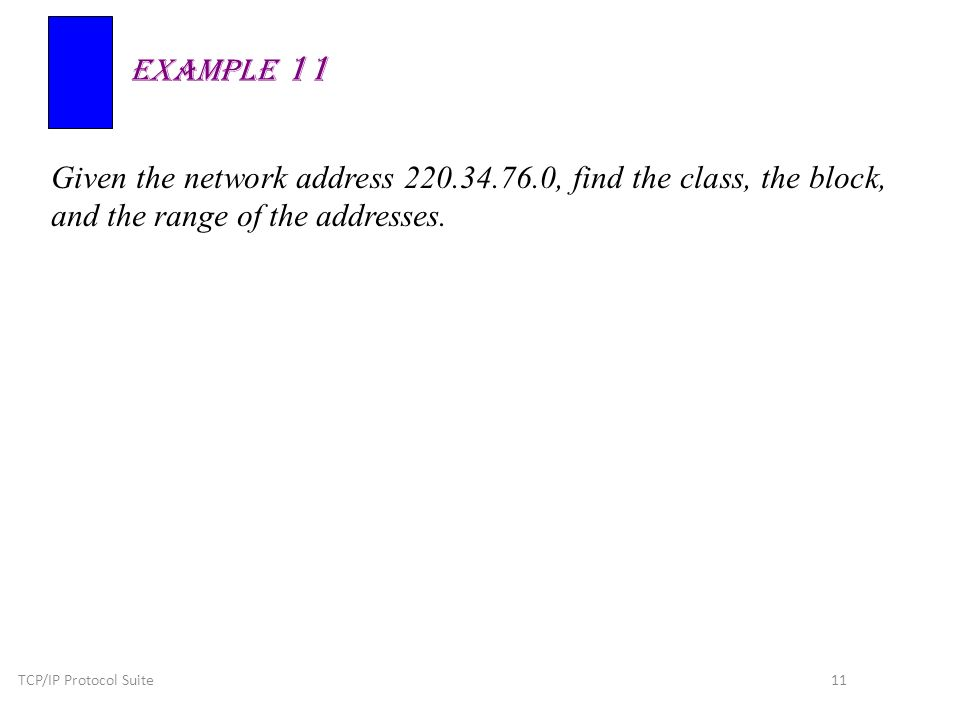 TCP/IP Protocol Suite 11 Given the network address , find the class, the block, and the range of the addresses.