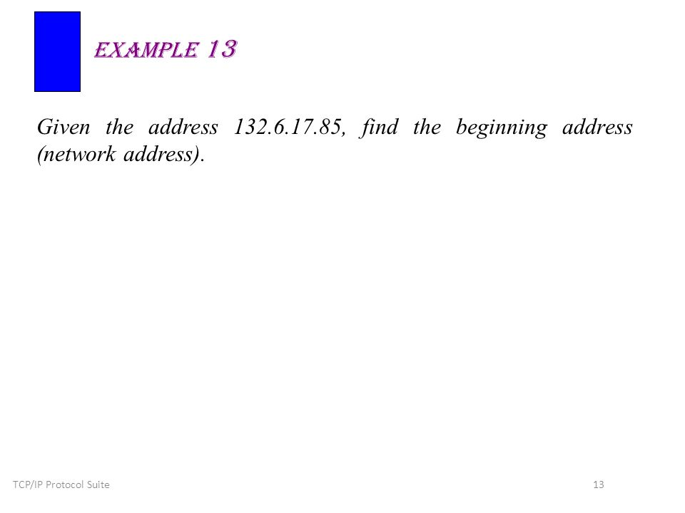 TCP/IP Protocol Suite 13 Given the address 132.6.17.85, find the beginning address (network address).