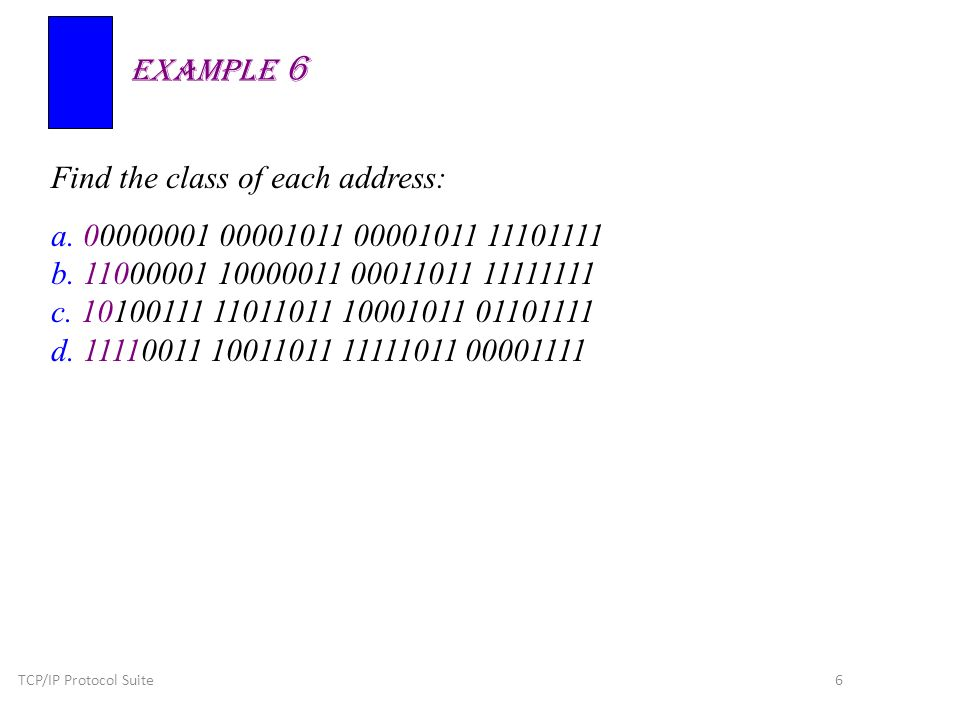 TCP/IP Protocol Suite 6 Find the class of each address: a.