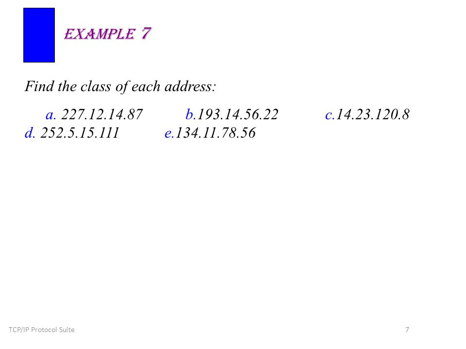 TCP/IP Protocol Suite 7 Find the class of each address: a.