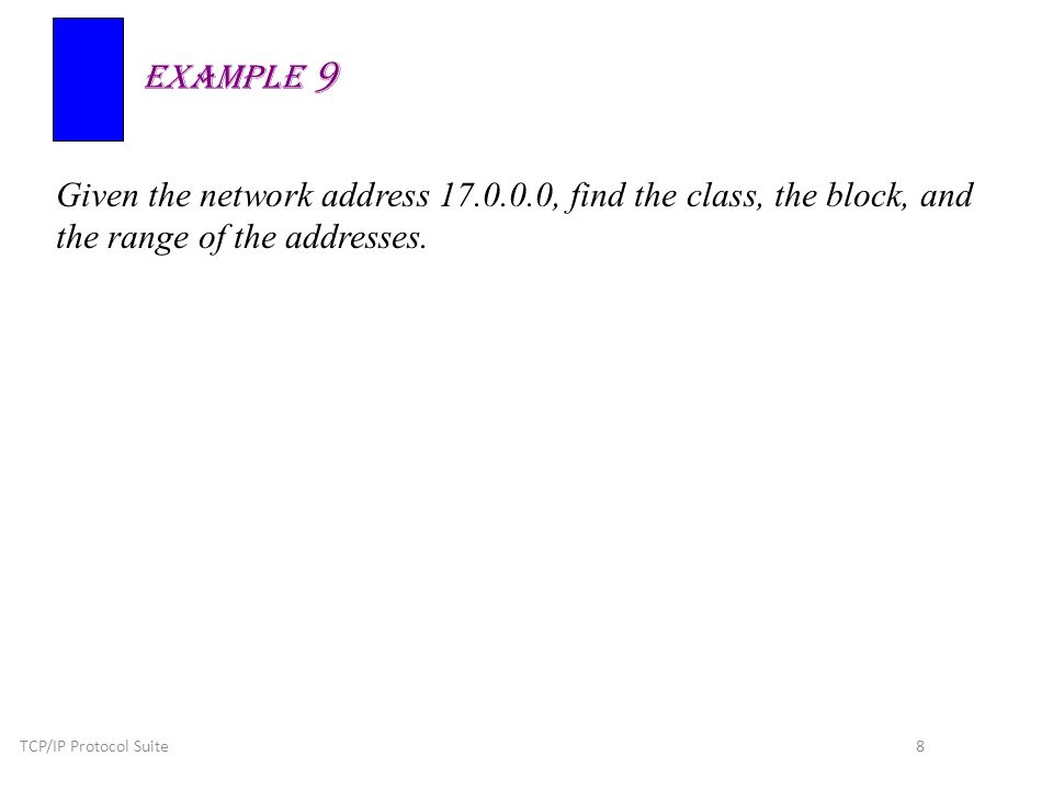 TCP/IP Protocol Suite 8 Given the network address 17.0.0.0, find the class, the block, and the range of the addresses.