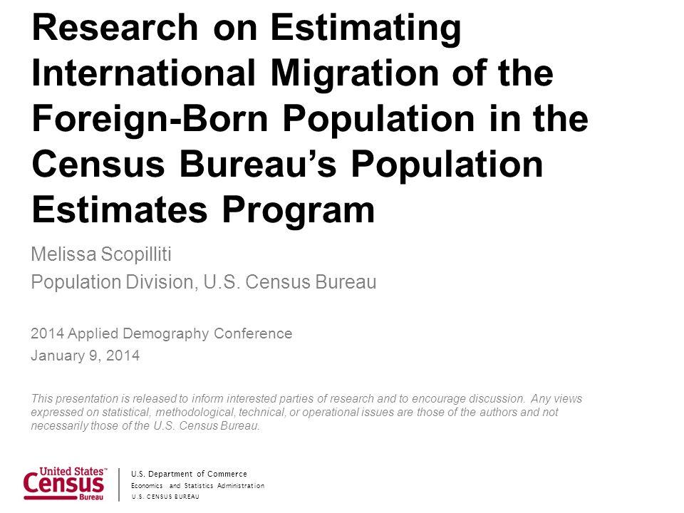 Economics and Statistics Administration US CENSUS BUREAU US