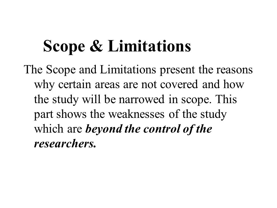 scope and limitation example in research paper