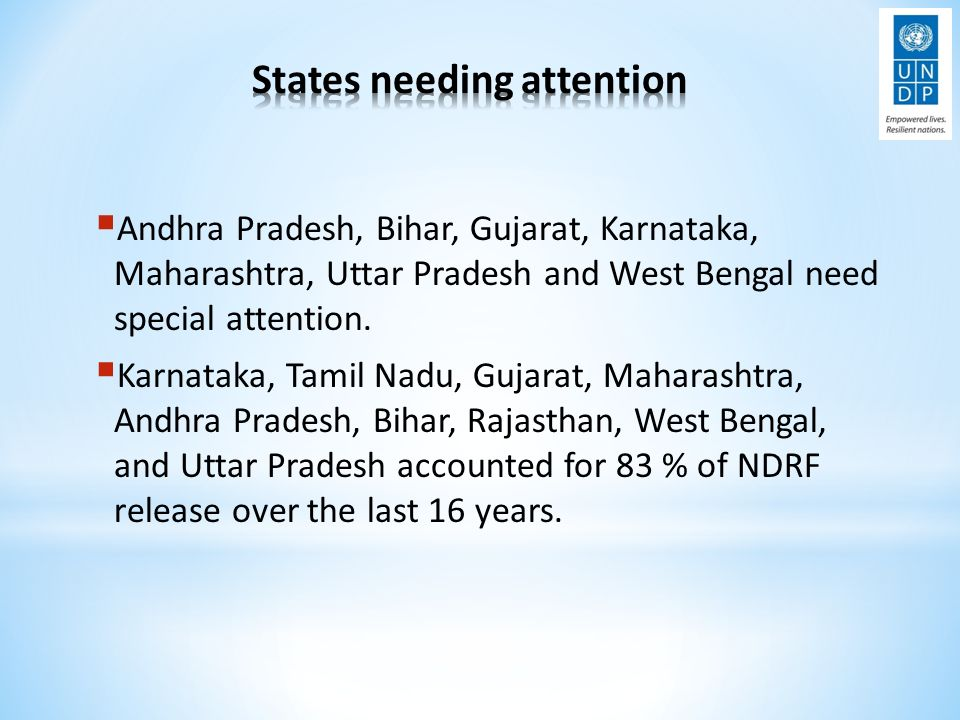  Andhra Pradesh, Bihar, Gujarat, Karnataka, Maharashtra, Uttar Pradesh and West Bengal need special attention.