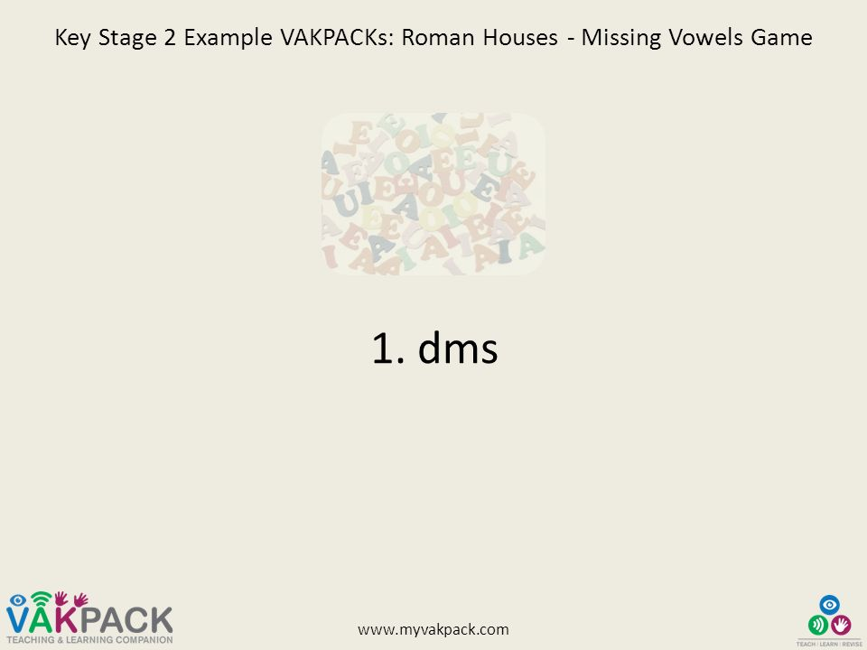 Key Stage 2 Example VAKPACKs: Roman Houses - Missing Vowels Game Try ...