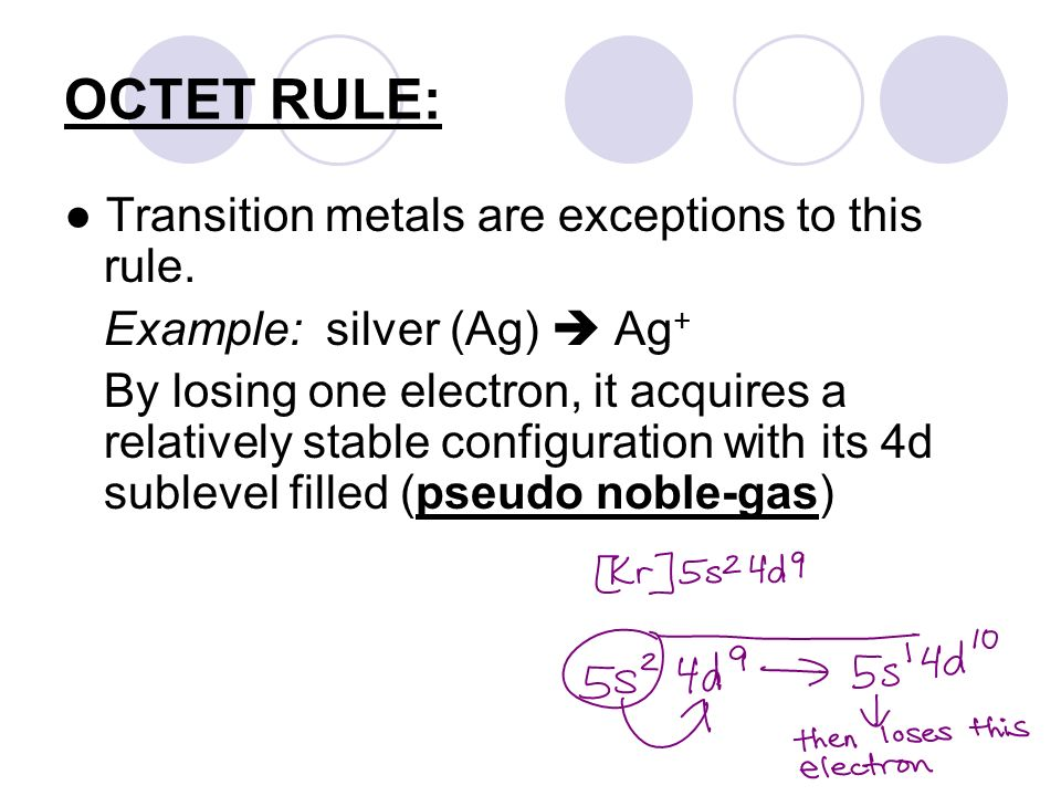OCTET RULE: ● Transition metals are exceptions to this rule.