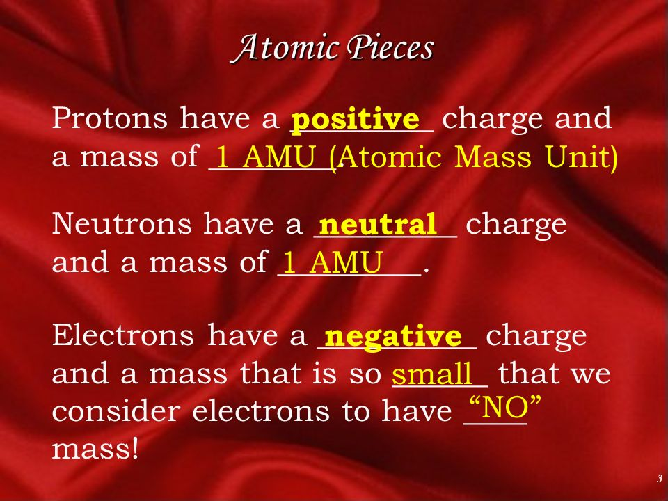 3 Atomic Pieces Protons have a _________ charge and a mass of ________.