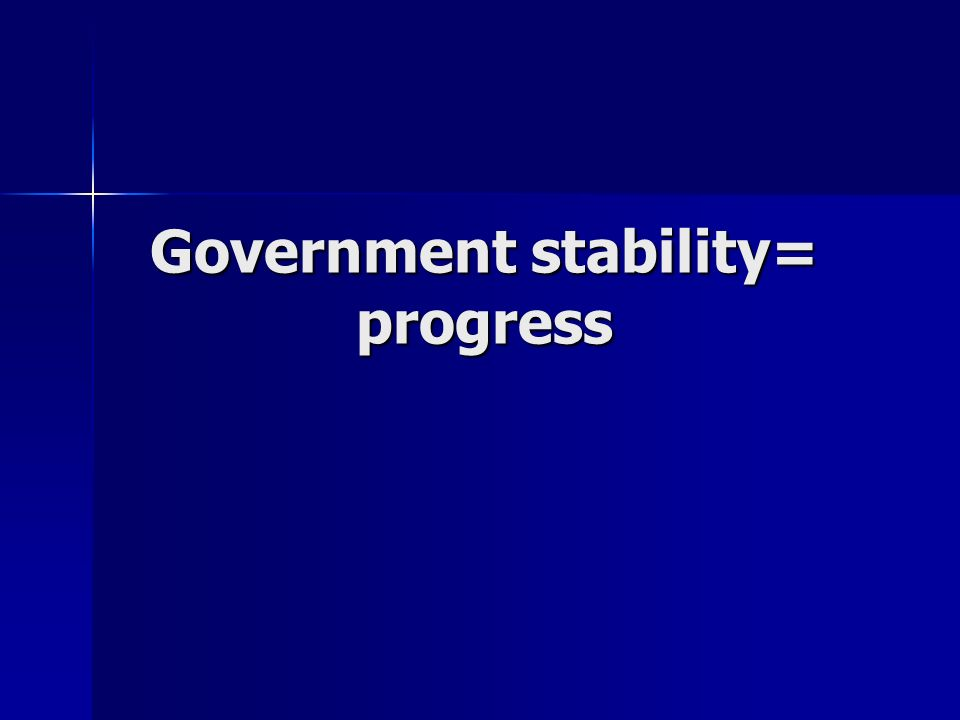 Government stability= progress
