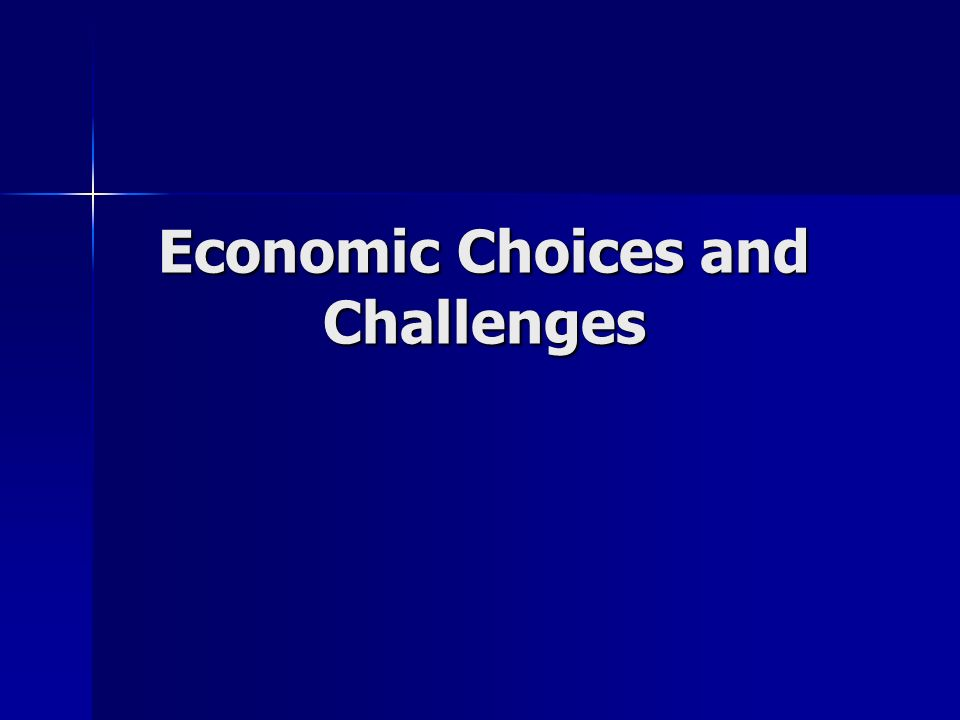 Economic Choices and Challenges