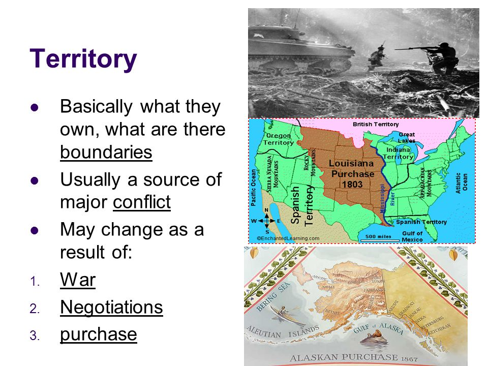Territory Basically what they own, what are there boundaries Usually a source of major conflict May change as a result of: 1.