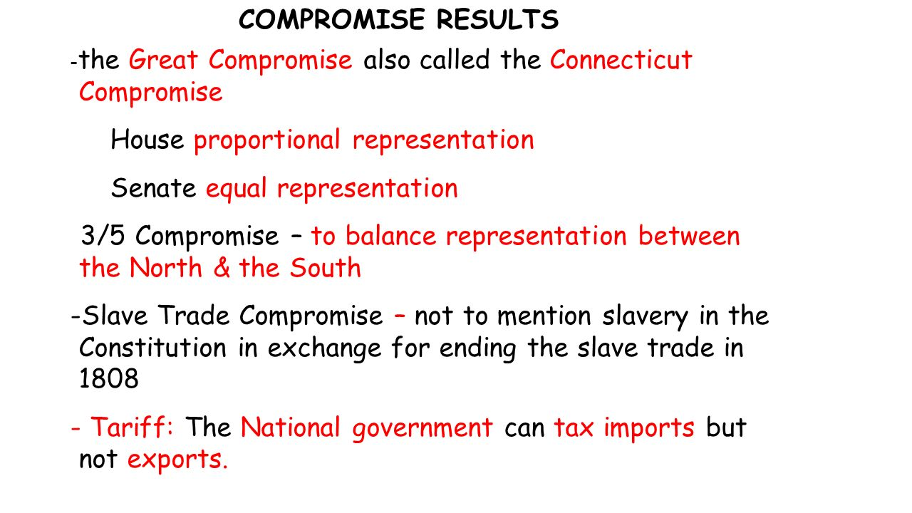 COMPROMISE RESULTS - the Great Compromise also called the Connecticut Compromise House proportional representation Senate equal representation -3/5 Compromise – to balance representation between the North & the South -Slave Trade Compromise – not to mention slavery in the Constitution in exchange for ending the slave trade in Tariff: The National government can tax imports but not exports.