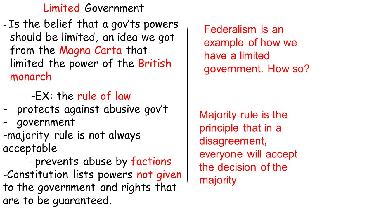 Limited Government - Is the belief that a gov'ts powers should be limited, an idea we got from the Magna Carta that limited the power of the British monarch -EX: the rule of law -protects against abusive gov't -government -majority rule is not always acceptable -prevents abuse by factions -Constitution lists powers not given to the government and rights that are to be guaranteed.