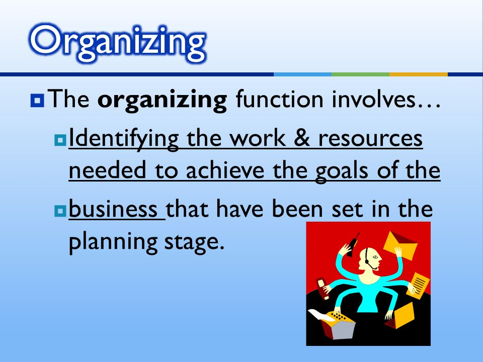  The organizing function involves…  Identifying the work & resources needed to achieve the goals of the  business that have been set in the planning stage.
