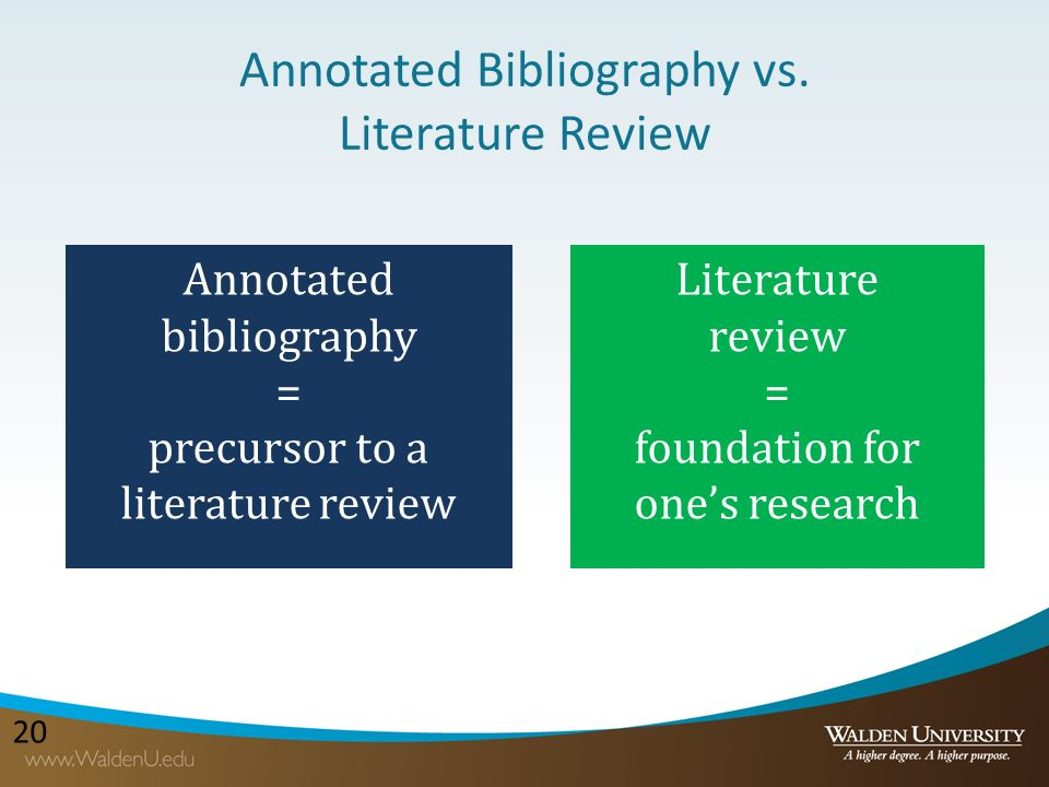 Do annotated literature review