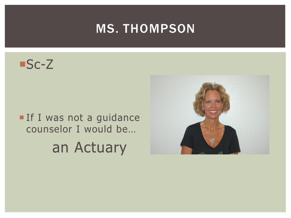  Mi-Sa  AVID 9 th & 11th  If I was not a guidance counselor I would be… a Teacher MRS. FRITZ