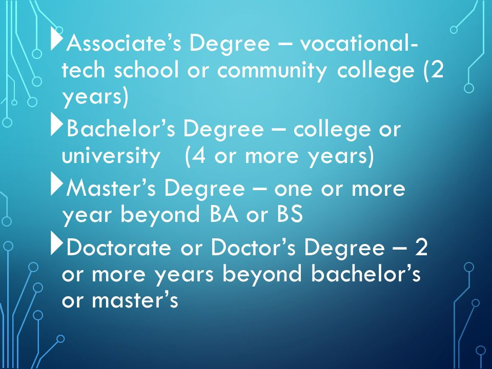 Associate's Degree – vocational- tech school or community college (2 years)  Bachelor's Degree – college or university (4 or more years)  Master's Degree – one or more year beyond BA or BS  Doctorate or Doctor's Degree – 2 or more years beyond bachelor's or master's
