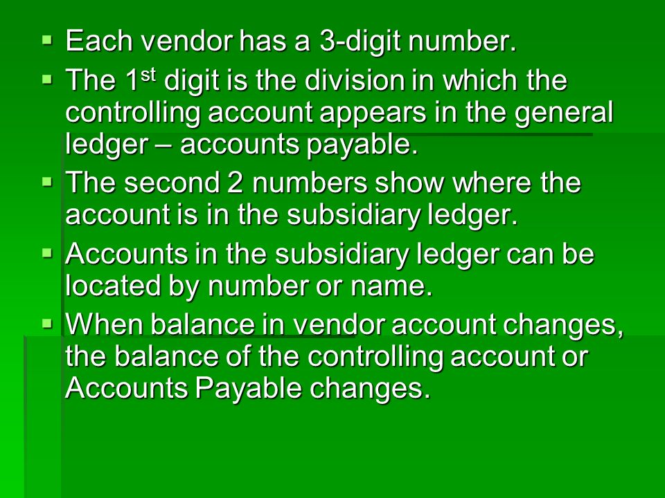  Each vendor has a 3-digit number.