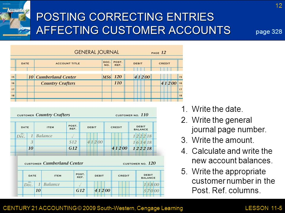 CENTURY 21 ACCOUNTING © 2009 South-Western, Cengage Learning 12 LESSON 11-5 POSTING CORRECTING ENTRIES AFFECTING CUSTOMER ACCOUNTS page Write the amount.