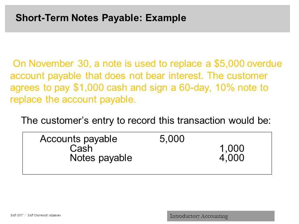 SAP 2007 / SAP University Alliances Introductory Accounting On November 30,  A Note Is Used  Note Payables