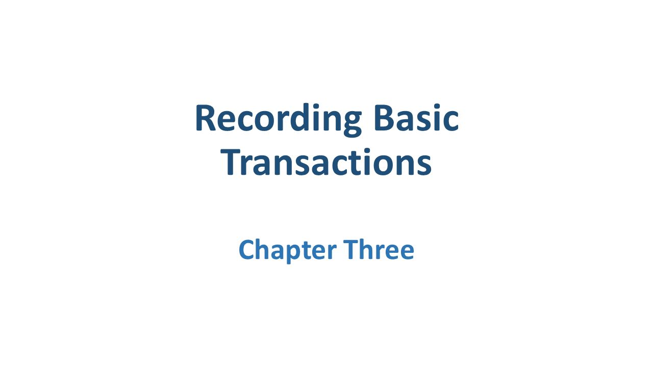 Recording Basic Transactions Chapter Three
