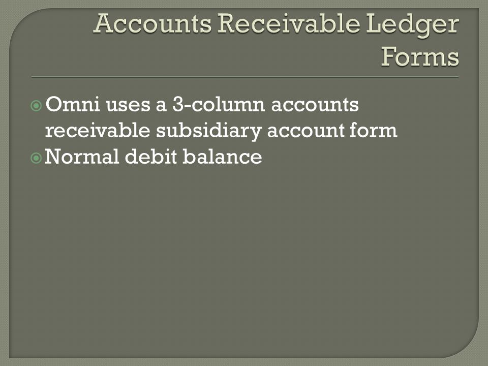  Omni uses a 3-column accounts receivable subsidiary account form  Normal debit balance