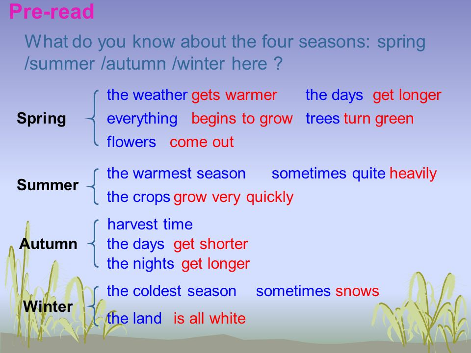 Spring Summer Autumn Winter What do you know about the four seasons: spring /summer /autumn /winter here .