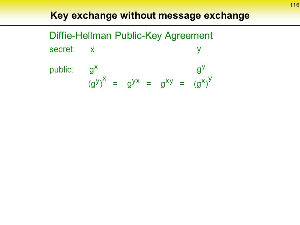 116 Key exchange without message exchange Diffie-Hellman Public-Key Agreement secret: x public: g x ygyygy (g y ) x = g yx = g xy = (g x ) y