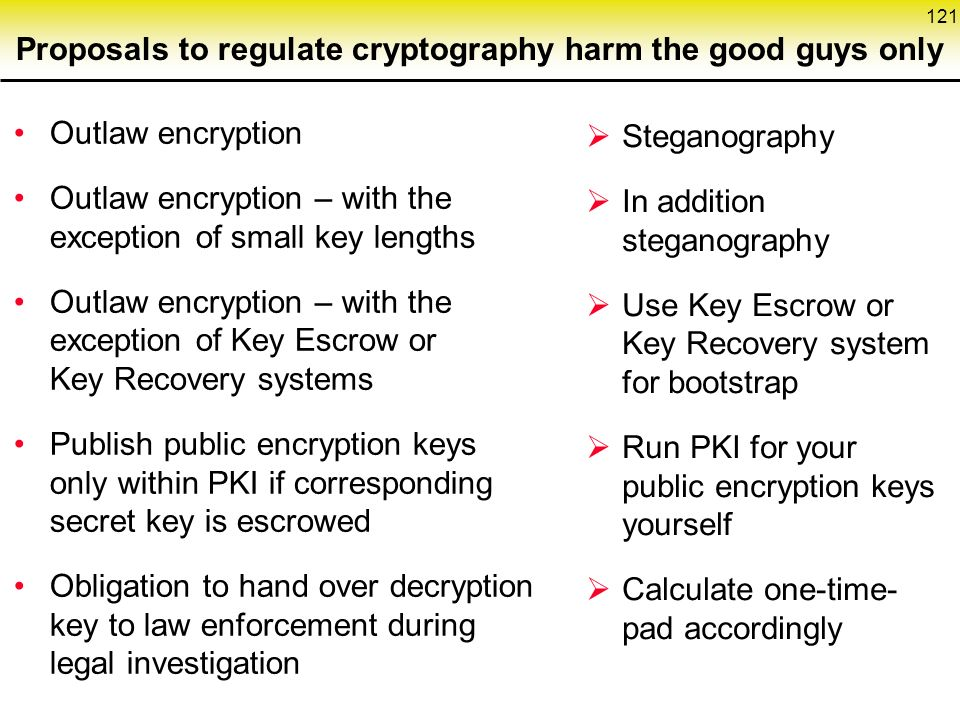 121 Proposals to regulate cryptography harm the good guys only  Steganography  In addition steganography  Use Key Escrow or Key Recovery system for bootstrap  Run PKI for your public encryption keys yourself  Calculate one-time- pad accordingly Outlaw encryption Outlaw encryption – with the exception of small key lengths Outlaw encryption – with the exception of Key Escrow or Key Recovery systems Publish public encryption keys only within PKI if corresponding secret key is escrowed Obligation to hand over decryption key to law enforcement during legal investigation