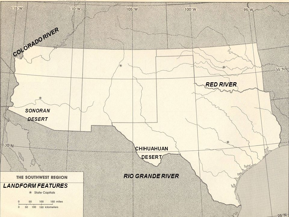 Name use the map of the southwest region to label the states and 13 landform features rio grande river red river colorado river chihuahuan desert sonoran desert publicscrutiny Choice Image