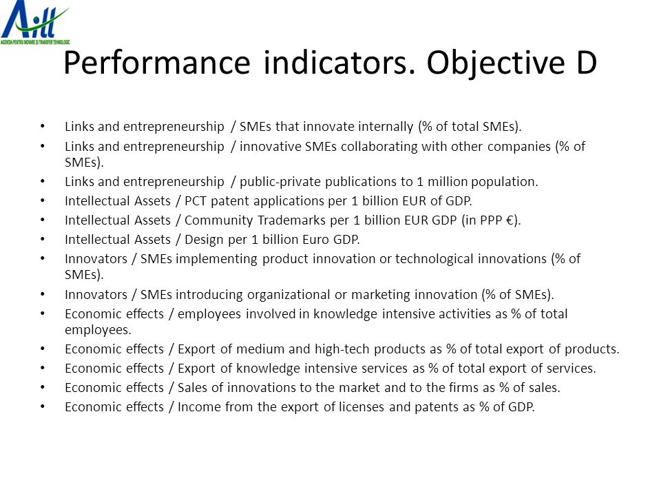 Performance indicators.