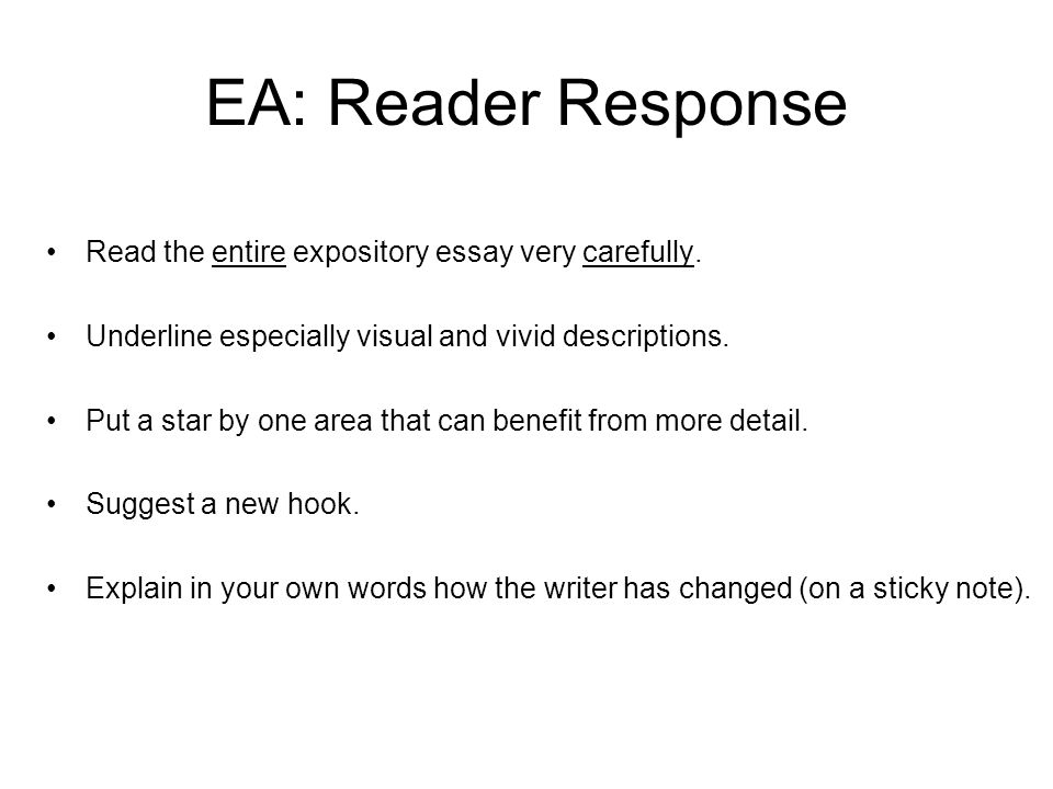 reader response essay format Gives response essay outline and format too more sign in join 14 owlcation » academia » essays response essay example updated on may 17, 2017 virginia.